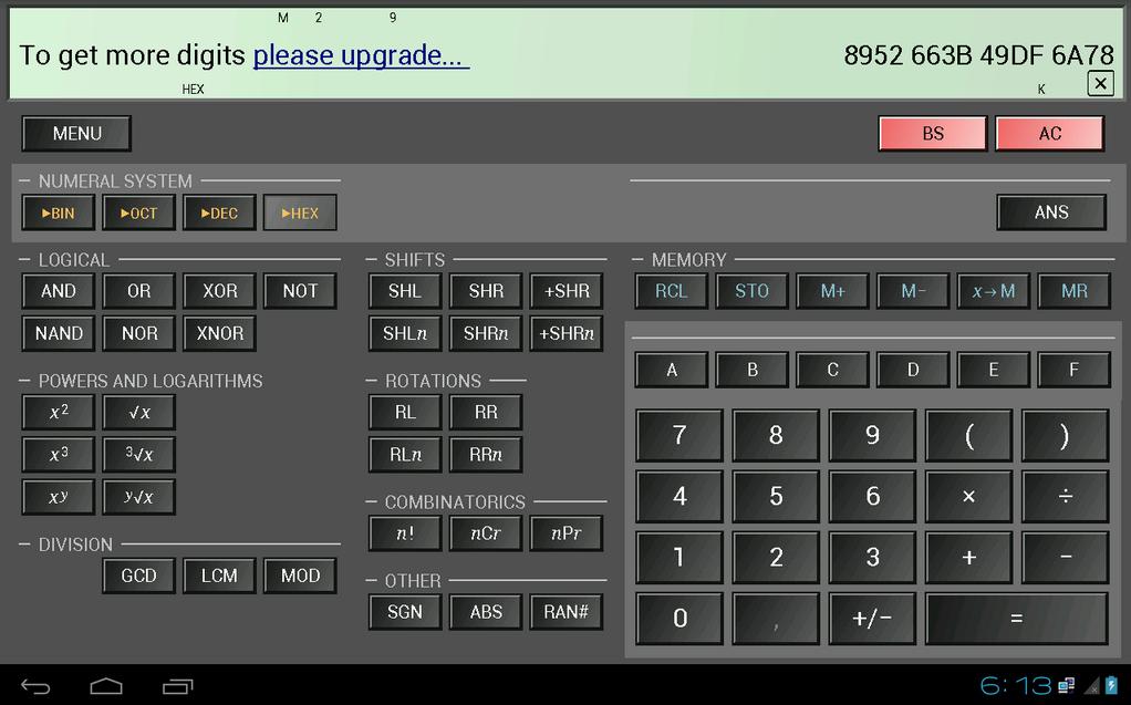 Scientific calculator 100 digits of e