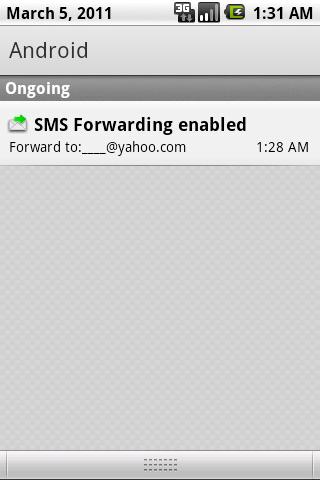 SMS Forwarding Setting Screenshot