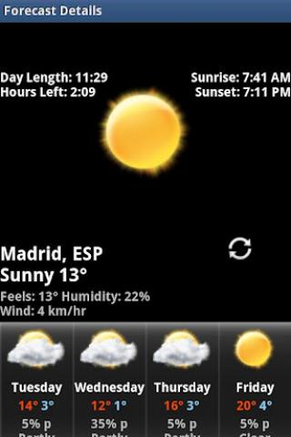 Rings Digital Weather Clock Screenshot