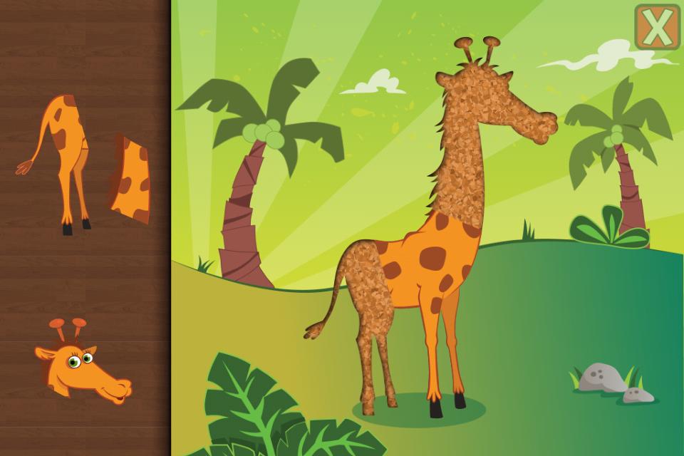 儿童是一个有趣的益智游戏为幼儿和孩子从1岁到6设有26可爱的卡通动物