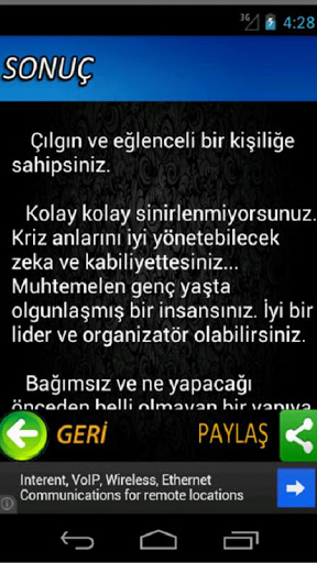 Karakter Analizi Screenshot