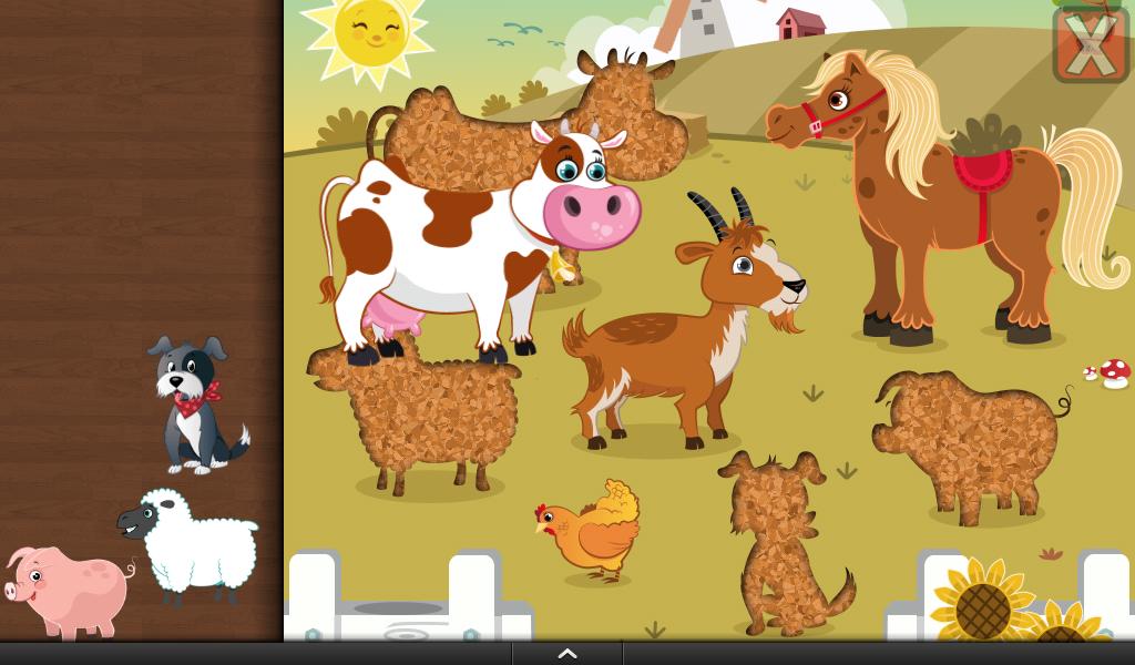 如牛,马,山羊,绵羊,猪,狗                    30形状与七巧板拼图!