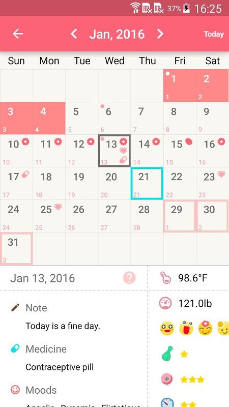 Period Calendar Pro screenshot 1