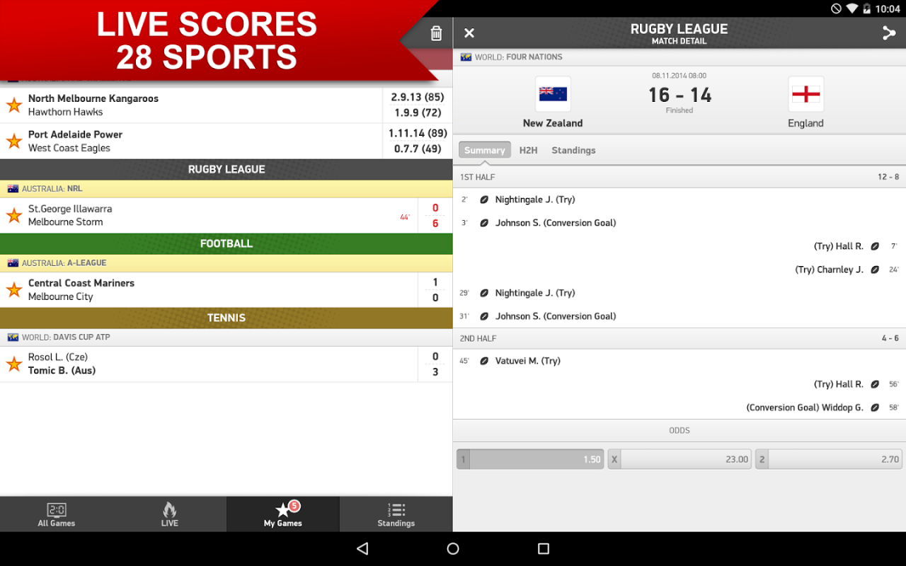 flashscore pour android