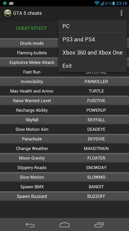 Cheats for GTA 5 all platforms screenshot 2