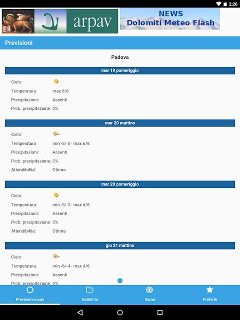 App ARPAV Meteo screenshot 1