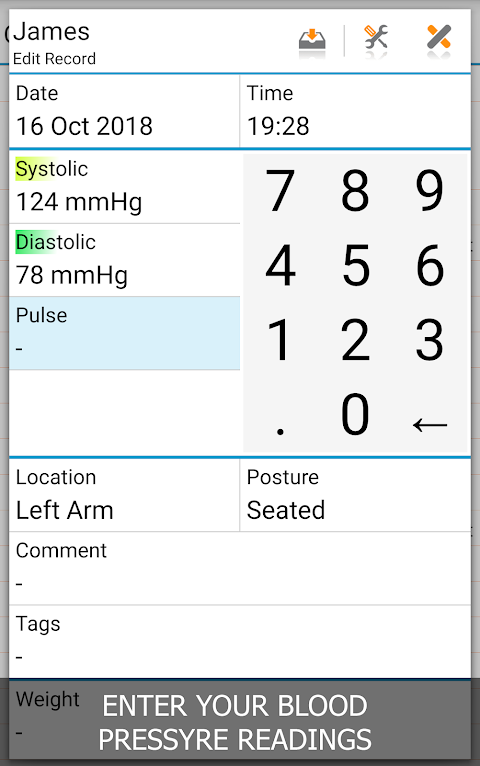 Blood Pressure Log - MyDiary screenshot 1