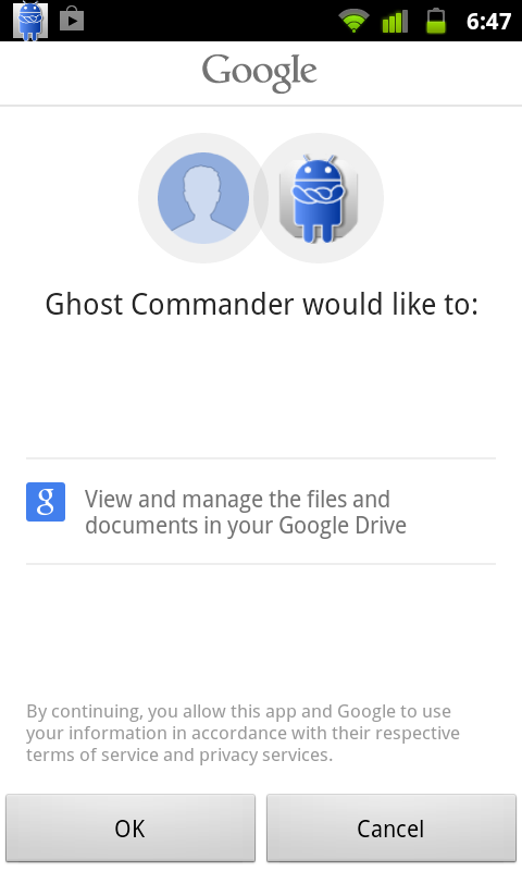 GhostCommander plugin: GDrive screenshot 1