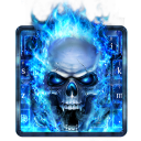 Blue Fire Skull Keyboard