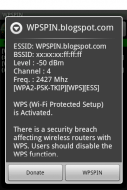 WPSPIN. WPS Wireless Scanner. Screenshot