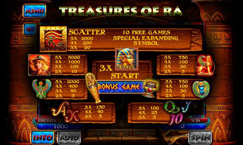 5 treasures slot machine application