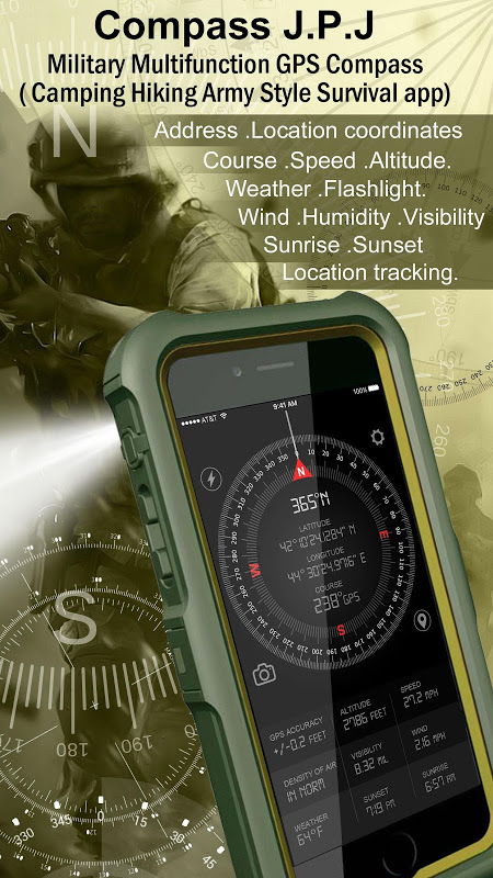 Compass GPS Pro  Military Compass with camera screenshot 1