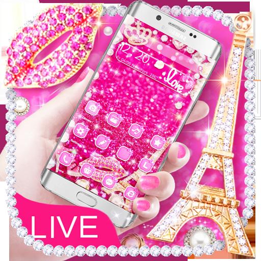 Glitter 3D Pink Eiffel Theme