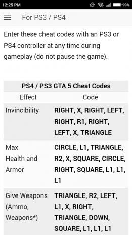 gta v cheat codes ps4