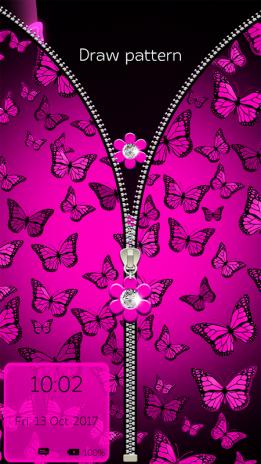Neon Pink Butterflies Zipper Lock Pattern 1 1 Download APK for