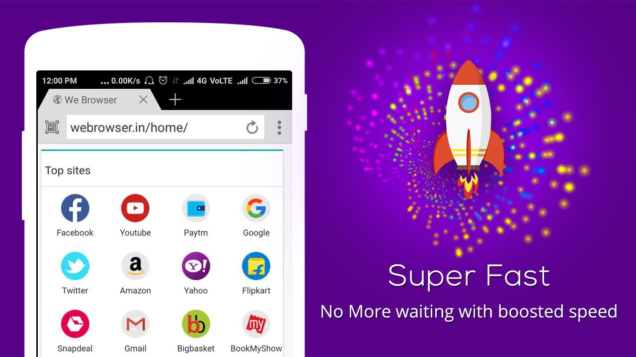 We Browser - Super fast download & surfing data screenshot 1