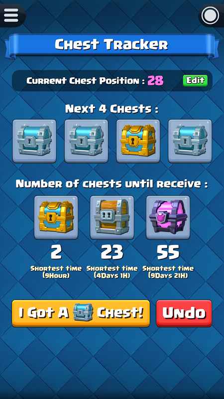 Chest Tracker for Clash Royale screenshot 1