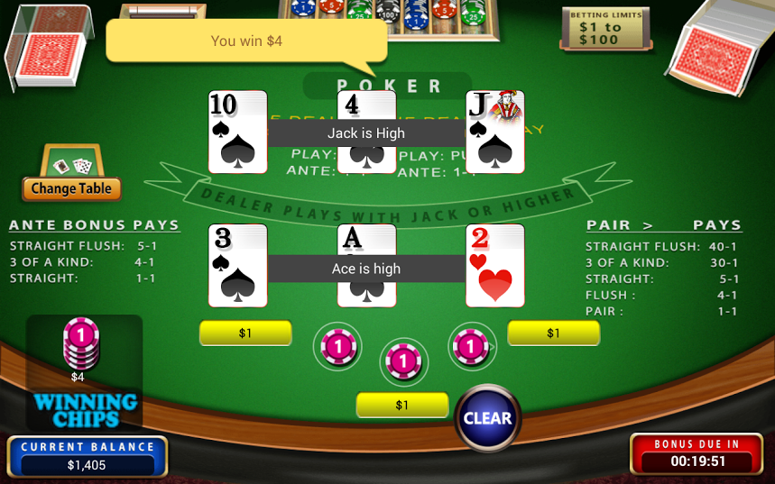 Three Card Poker Mobile Free Casino Game - IOS / Android Version