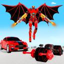 Flying Superhero Robot Transform Bike City Rescue