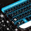 Glowing Blue Neon Keyboard