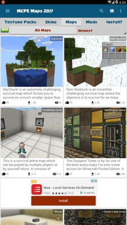 Maps for MCPE: Texture Packs, Mods, Skins v1 1 0 Download
