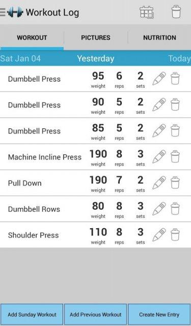 getfit simple workout log