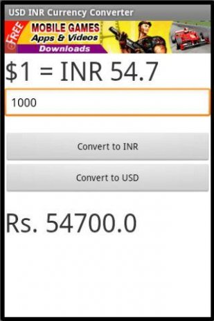 Usd Inr Currency Converter Screenshot 1