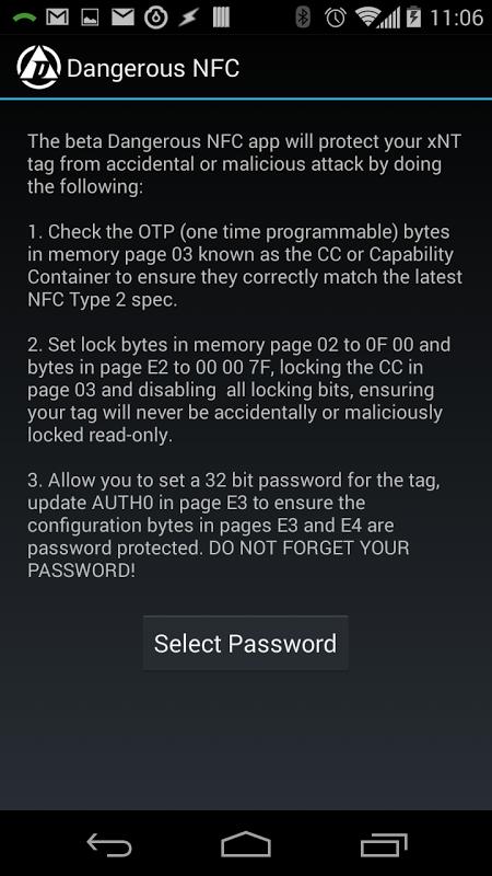 Dangerous NFC (BETA) screenshot 1