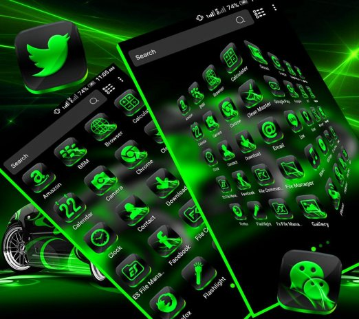 Neon Green Car Launcher Theme 1 1 Download APK for Android