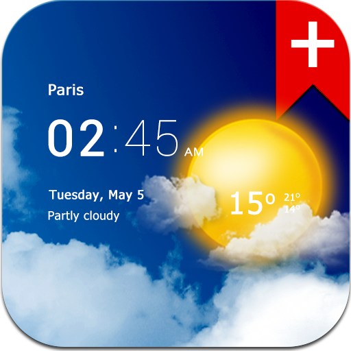 Transparent clock weather (Ad-free)
