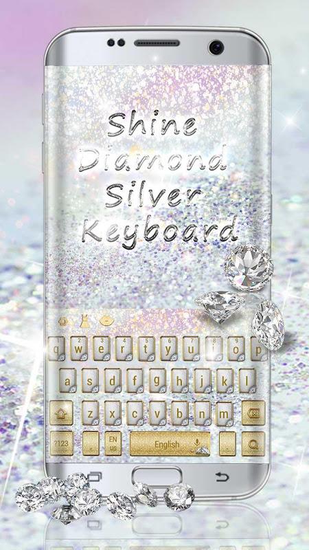 Shine diamond silver keyboard screenshot 1
