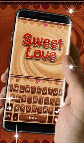 Sweet Love Brown Heart Cake Keyboard Theme 6 6 7 Download