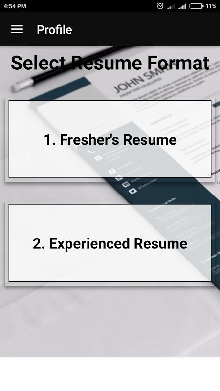... Best Resume Maker For Freshers Experienced In Pdf Resume Format 2018 Free  Resume Builder स्क्रीनशॉट 3 ...