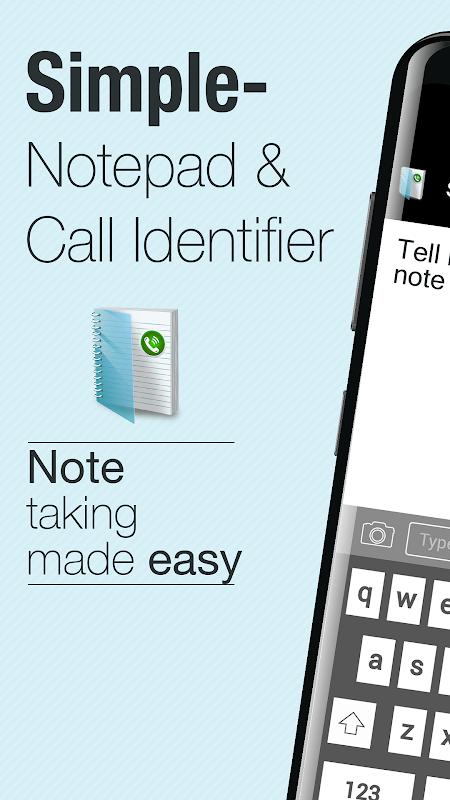 Simple Notepad & Call Identifier screenshot 1