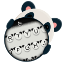 Black White Lovely Cute Panda Keyboard Theme