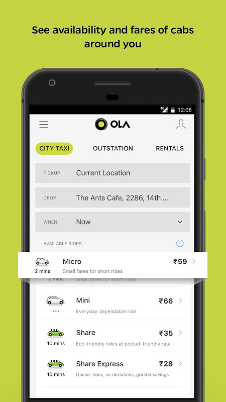 Ola Lite: Lighter Faster Ola App. Book Taxi & Cabs screenshot 1