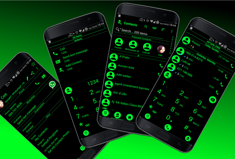 Theme for RocketDial and ExDialer Flat BGreen screenshot 7