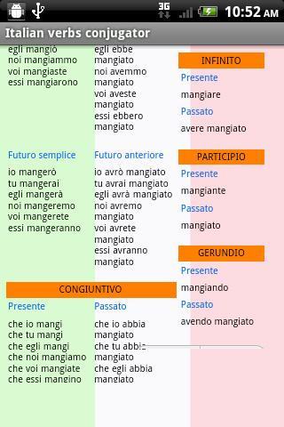 Conjugueur De Verbes Italiens 10 Telecharger Apk Android Aptoide