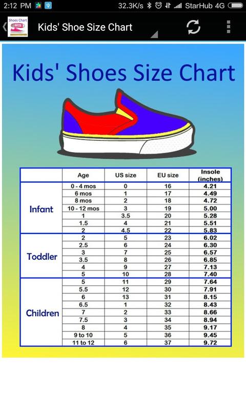 Kids Shoe Size Chart Converter 2.0
