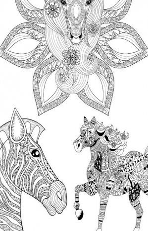 Horses Mandala Coloring Page Screenshot 5