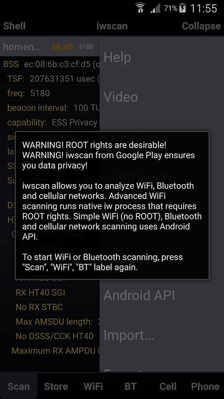 iwscan. WiFi Analyzer screenshot 1