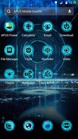 Blue Neon Future Tech Apus Launcher Theme Screenshot 3