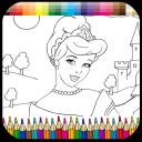 Princess coloring kids paint
