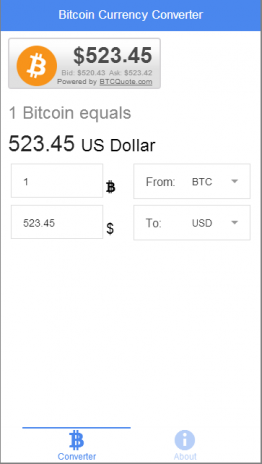 Realtime Bitcoin Converter Screenshot 1