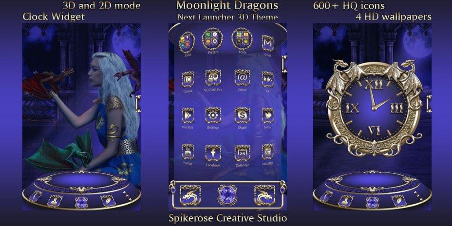 Moonlight Dragons 3d Next Launcher Theme 10 Download Apk For