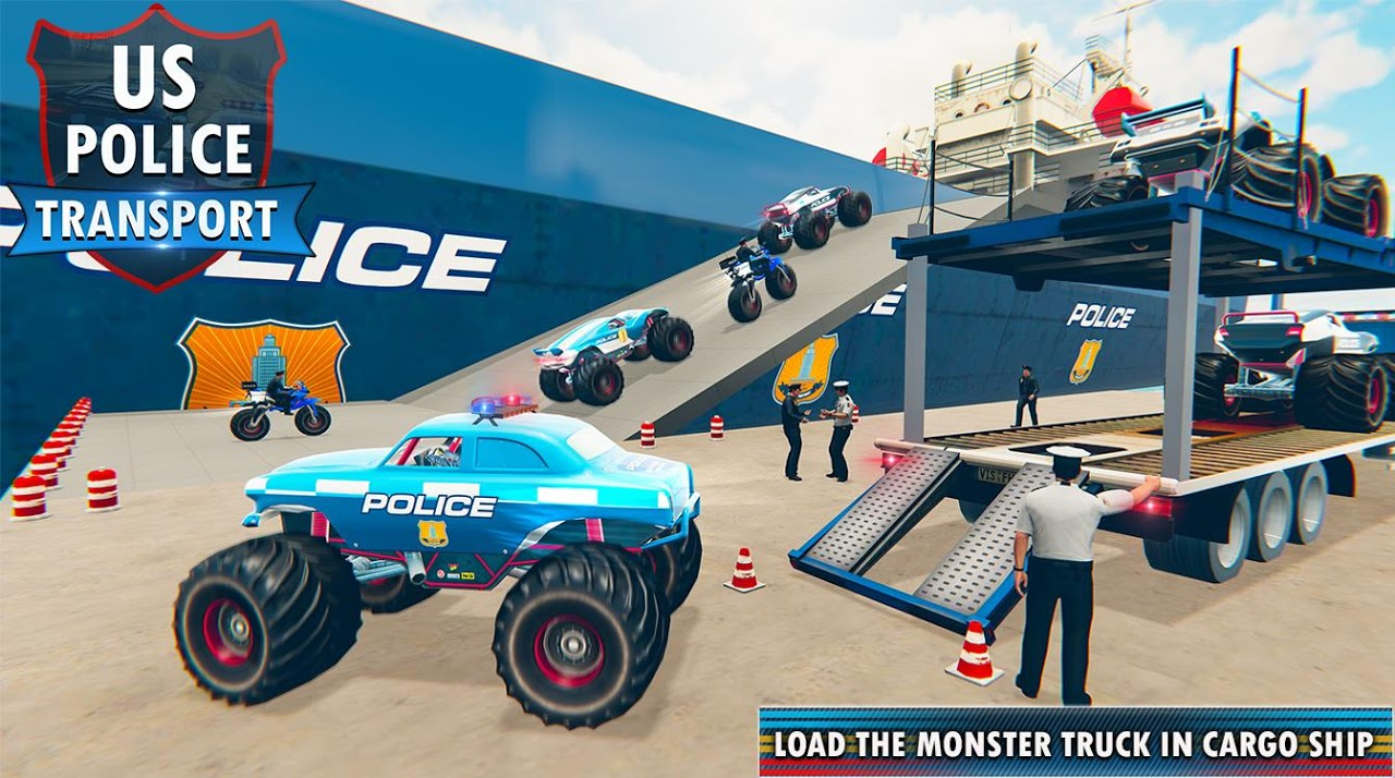 Police Monster Truck Transport Cargo Plane Pilot screenshot 1