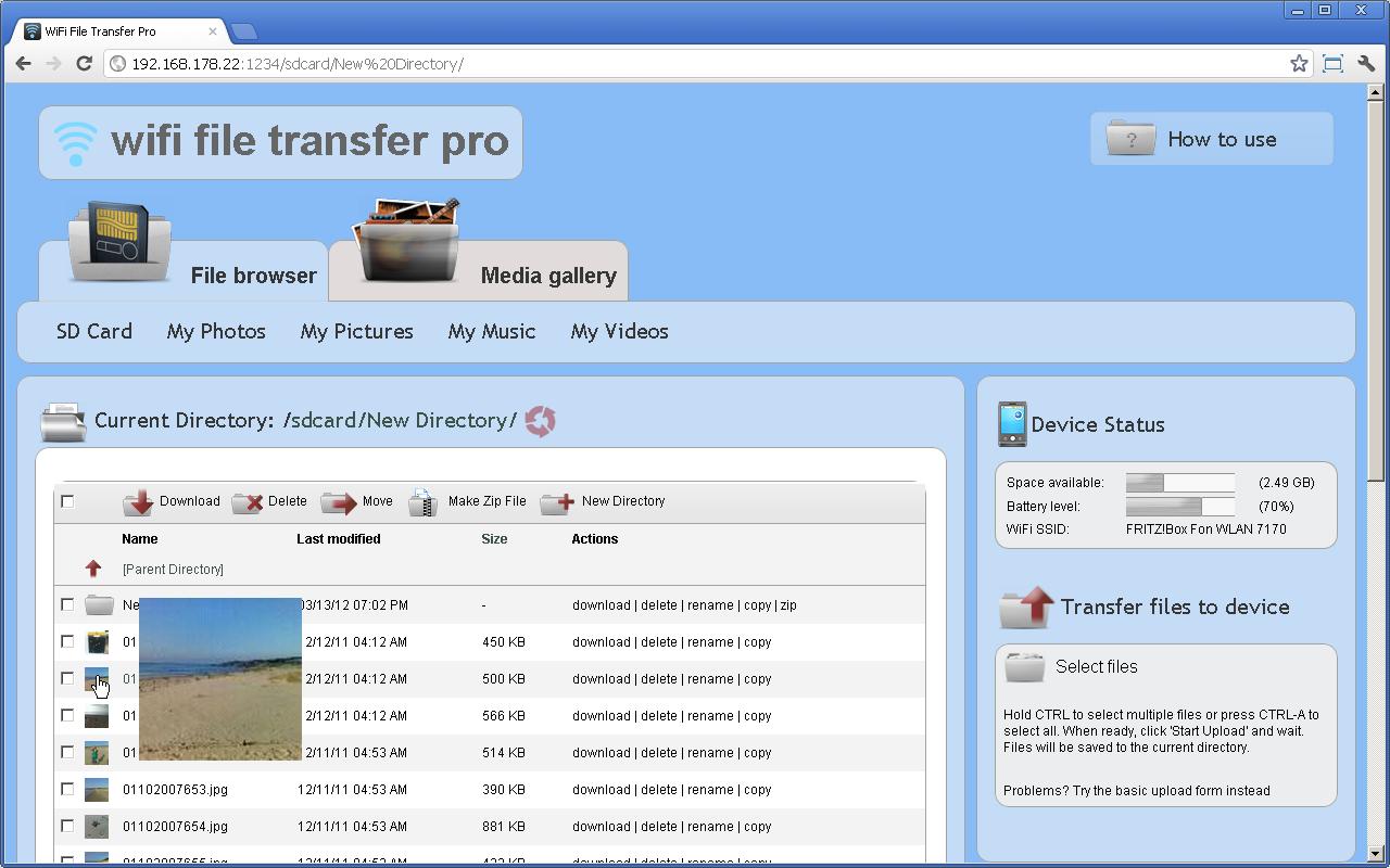 WiFi File Transfer Pro screenshot 1