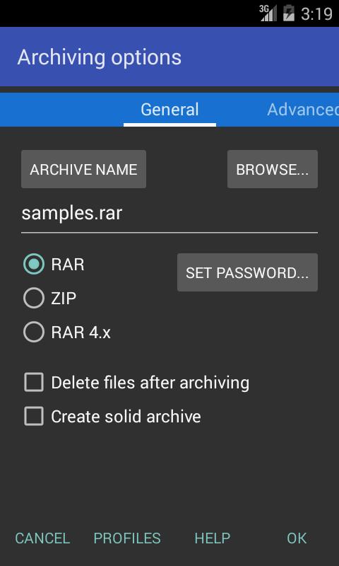 RAR screenshot 1