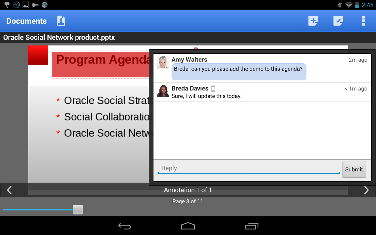 Oracle Social Network screenshot 2