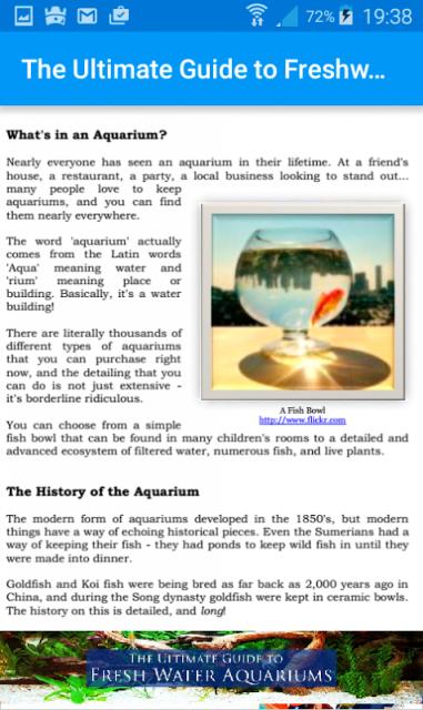 Guide to freshwater aquariums screenshot